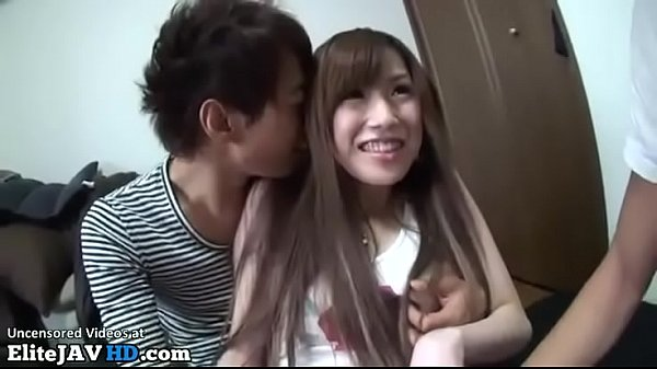 Japanese adult star has sex with two guys at their home