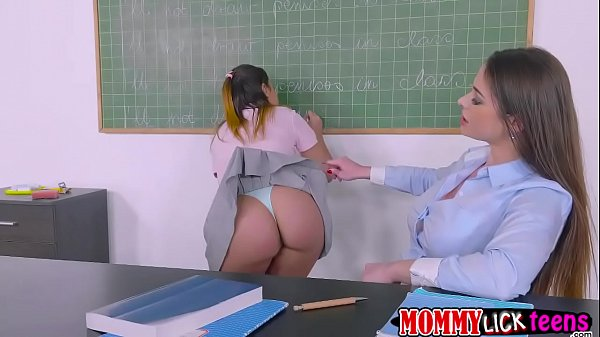 Teacher Cathy bangs Aninas sweet pussy by her dildo strap Thumb