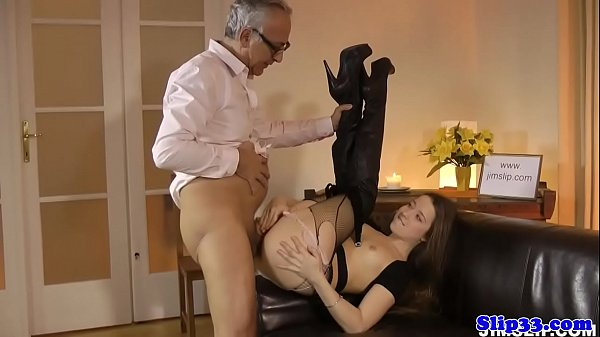 Assfucked euro babe riding old mans pole