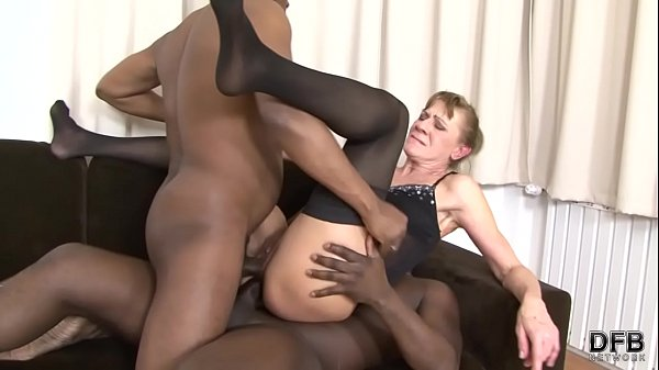 Interracial Threesome Granny bounded hard in he...