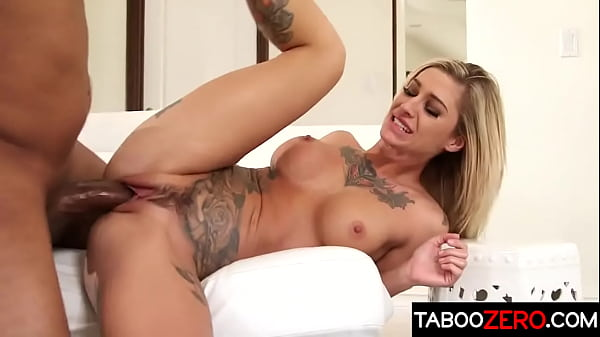 Hot tattooed blonde has sex with her hung black stepbrother