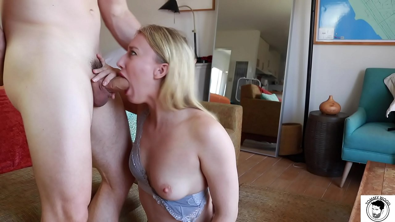 Sexy blonde slut pornstar with big ass and huge tits sucking cock and getting huge cumshot on her face Riley Reyes