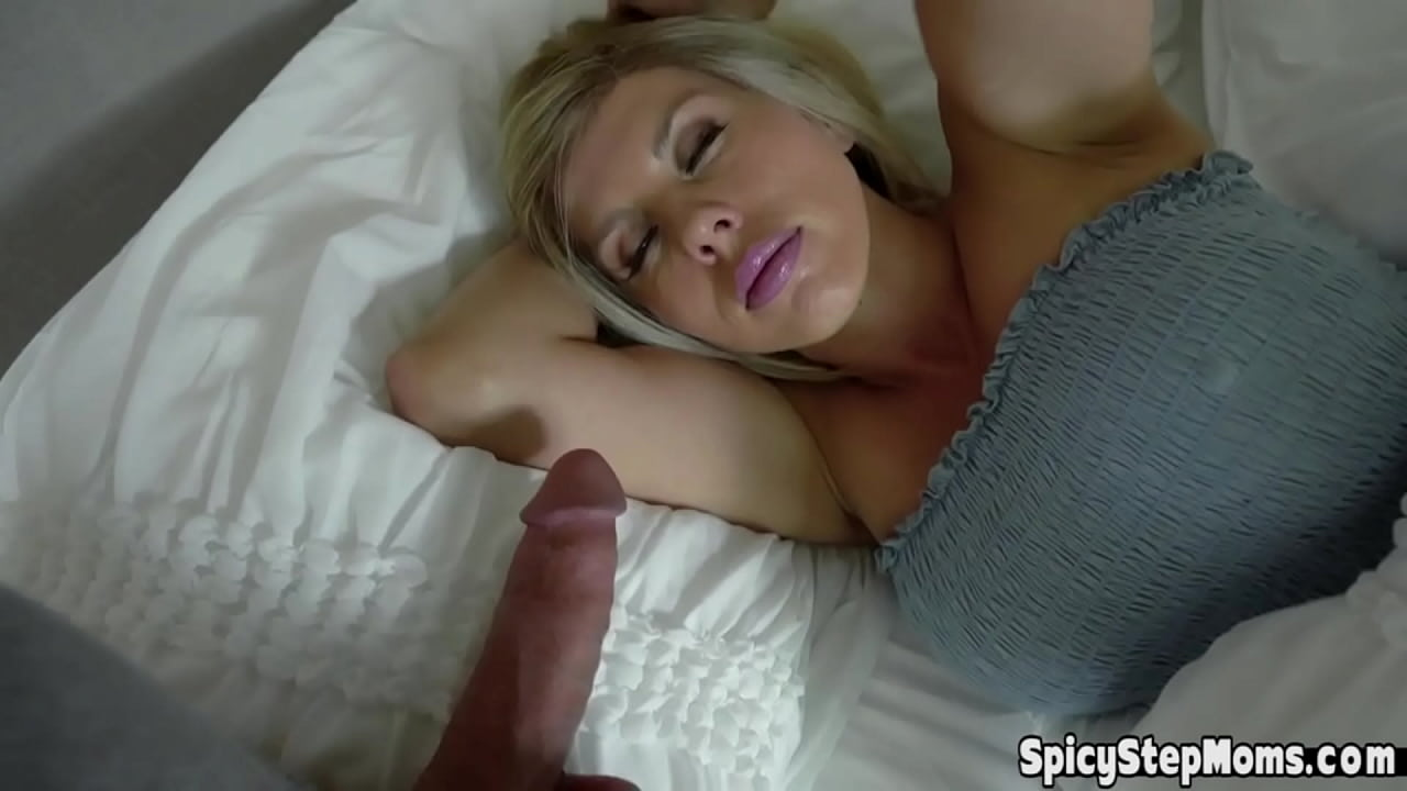 Busty blonde stepmother wakes up for a big surprise  thumbnail