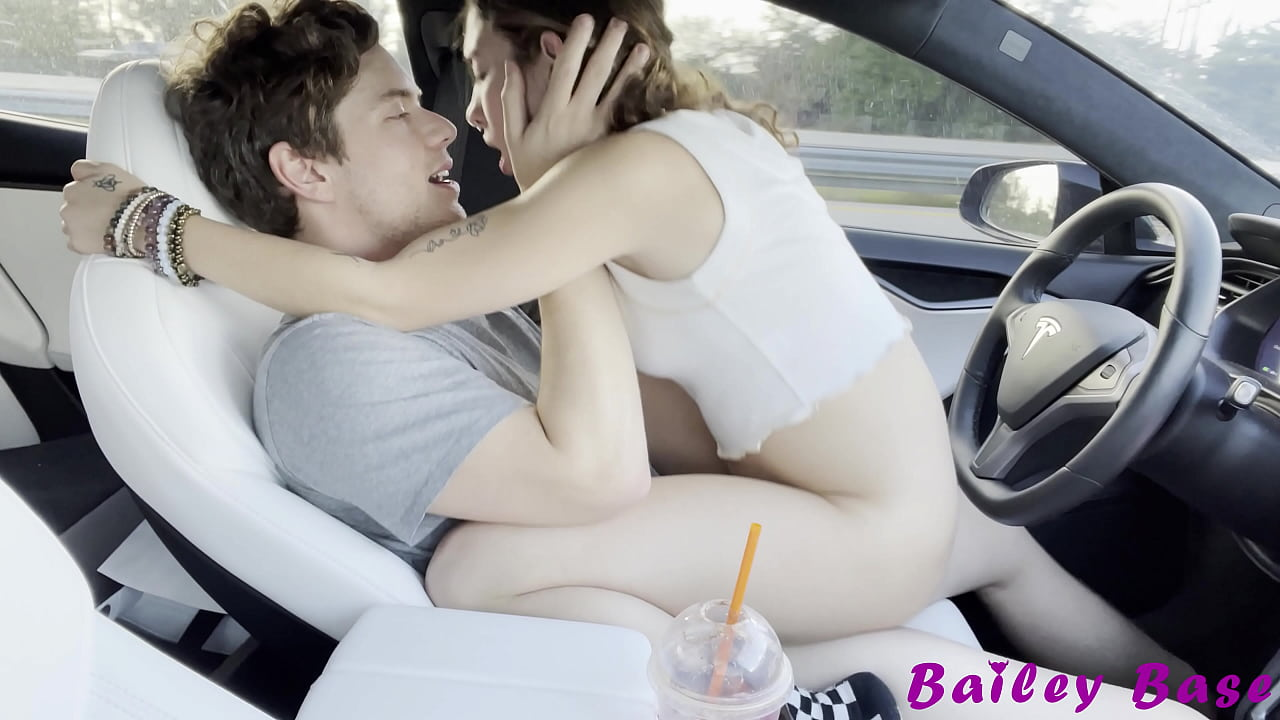 Sexy Petite Teen Fucking Cowgirl While Driving Tesla Autopilot 4k Bailey Base