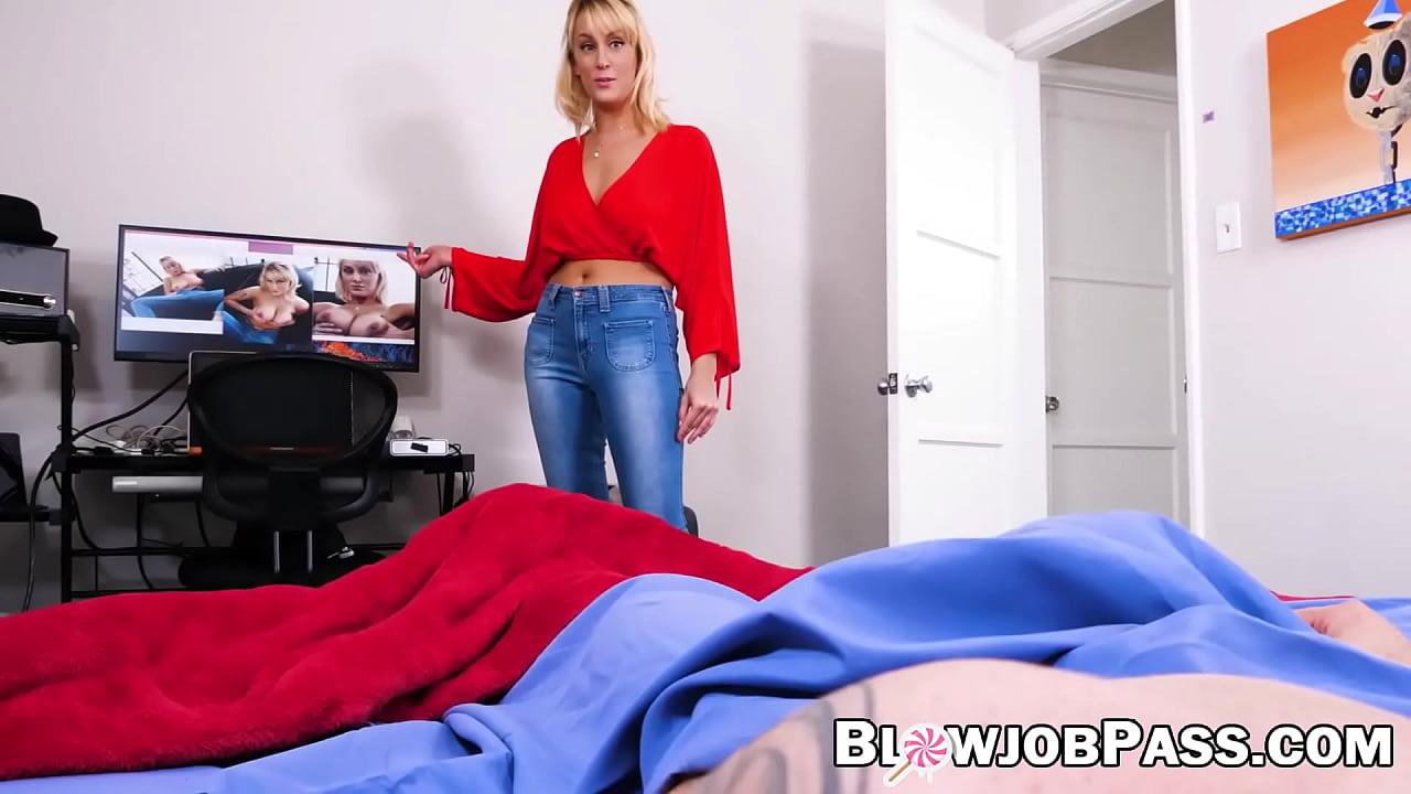 Busty blonde stepmom Maxim Law gives the best POV blowjob