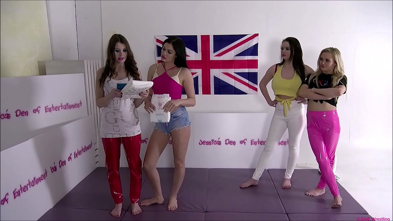 Tag-Team Bra and Panties Match (Strip-Wrestling Match) w, Loser gets strapped in a nappy (diaper)!! ~ Big-Ass Brook Logan & Amy Murphy vs Georgina Phillips & Jessica Morgan