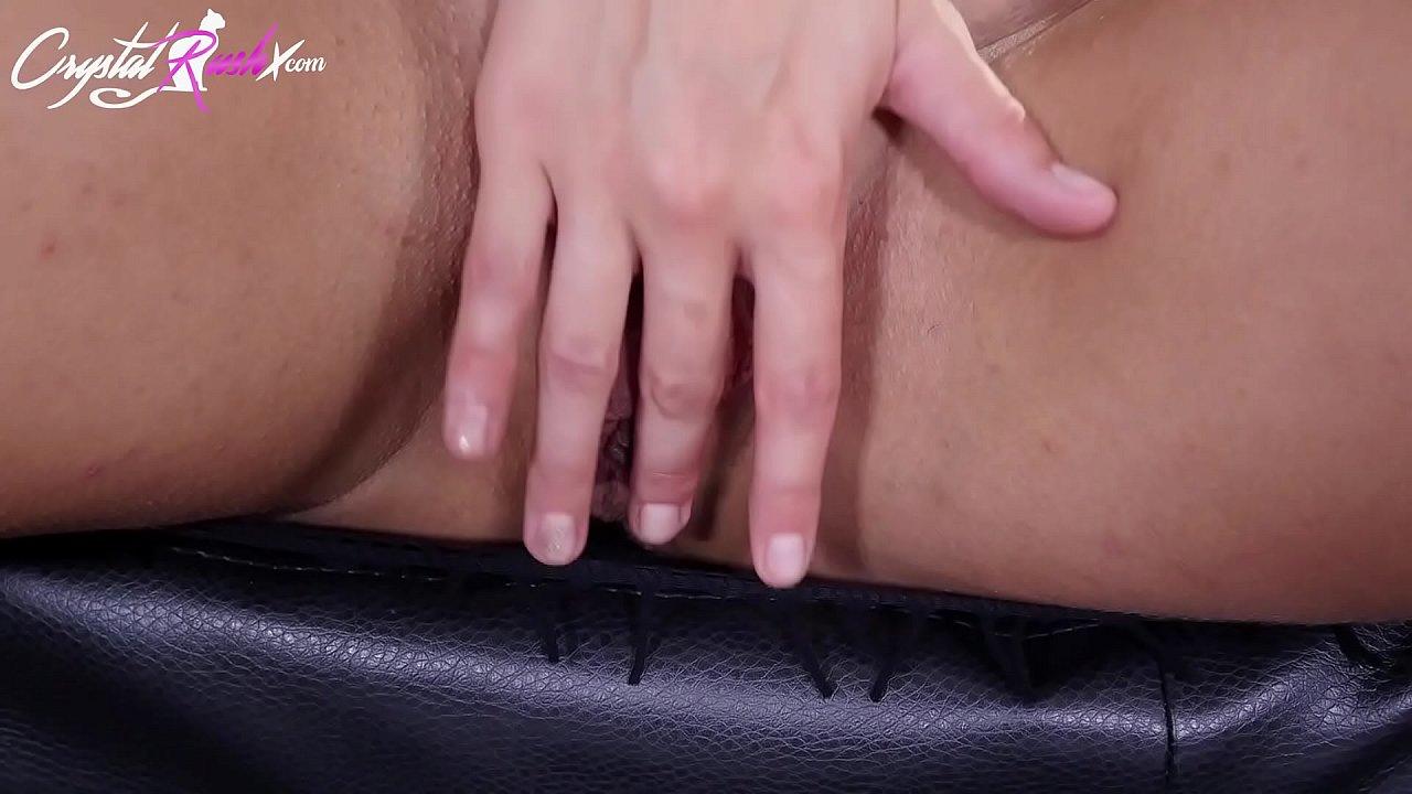 Brunette Play Pussy and Deep Sucking Big Cock Boss - Closeup