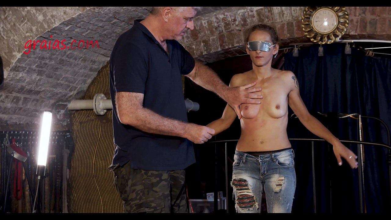 Harsh cane strikes on tits
