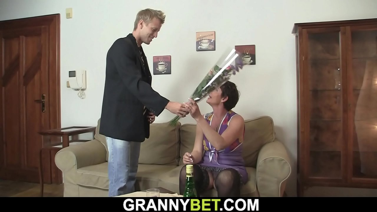 60 years old granny in stockings rides his big dick