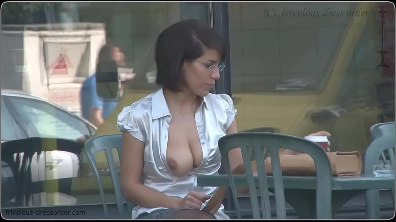 No Bra Public Big Tits Milf