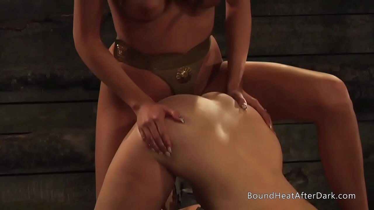 Lesbian Mistress With Big Natural Tits Punishing Slave Using Strapon