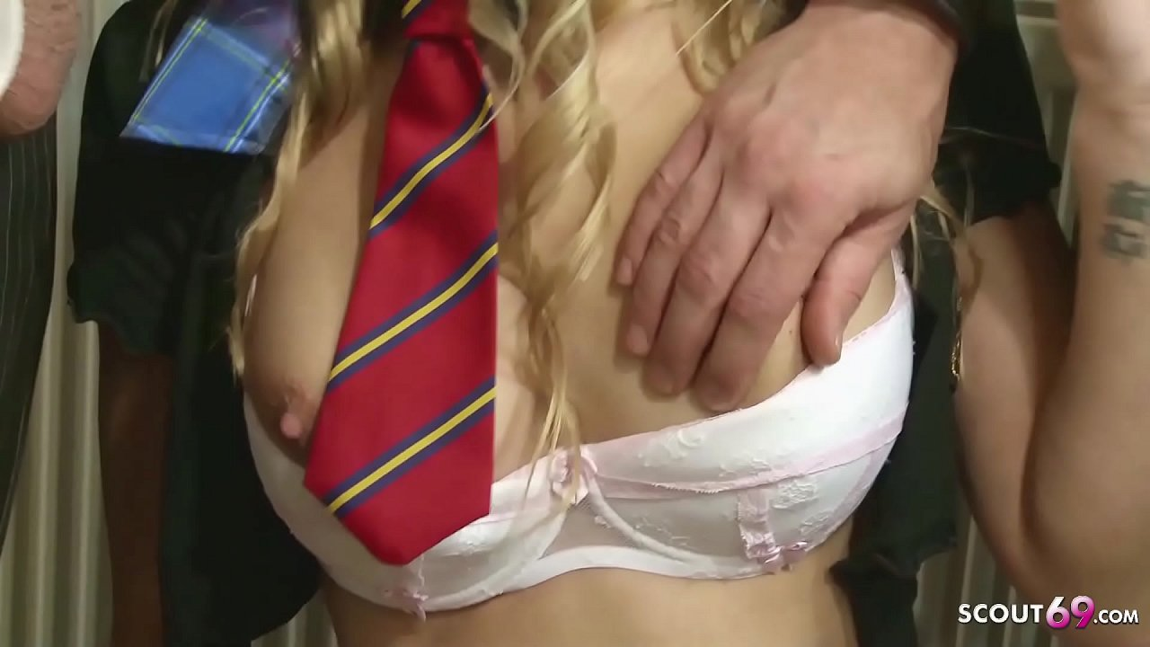 Rough Ass Fuck for Slim Blonde Schoolgirl Alexandra Wright in MMF Threesome at classroom