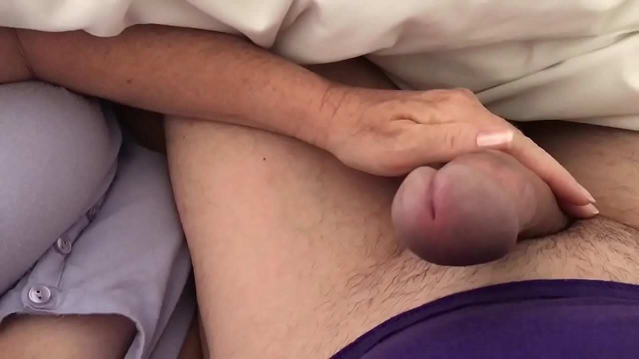 Favorite time of morning. GF petting my cock working up the pre.