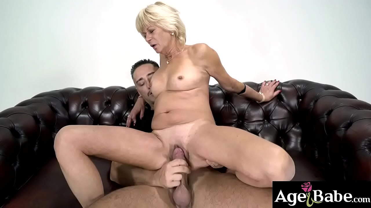 Old Blonde Woman Having Fun Time With Young Man's Cock