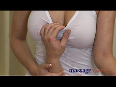 Massage Rooms Sexy busty therapist gives him go...