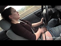 Sexy Lou driving and rubbing her wet pussy