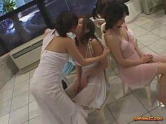 5 Asian Girls In Elegant Dresses Kissing Spitti...