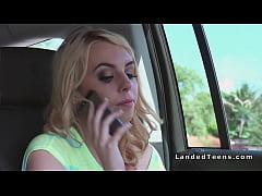 Blonde teen bangs big cock stranger