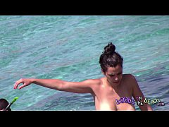 Huge Italian tits in the sea with her boyfriend