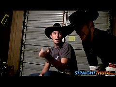 Amateur cowboys Ty and Lee wanking their cocks ...