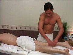 Blonde stud gets massage before bareback fucking