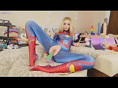 Amateur teen in suit Captain Marvel tests new t...