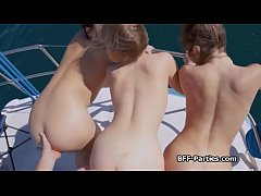 Captain bangs bikini teens on the sea