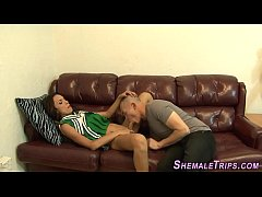 Ts babe cums guys mouth