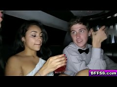Limo driver popping Katies virgin cherry with h...