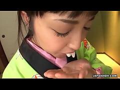 Asian bitch in a kimono sucking on his erect prick