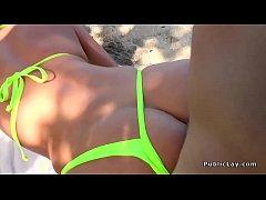 Hottie in bikini rides huge dick outdoor