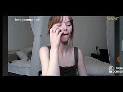 Cute innocent teen teasing in webcam
