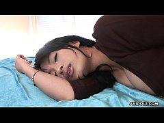 Busty Asian college beauty cums while toying he...