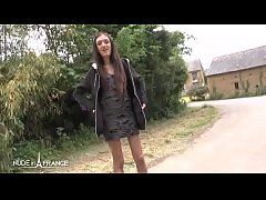 Amateur skinny french brunette difficult 1st ti...