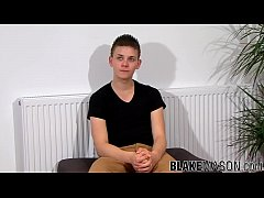 Cute young UK amateur strokes his dick and shoo...