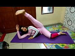 Muslim Woman Doing Yoga Stretching