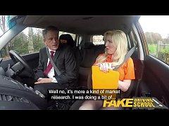 Fake Driving School Mature guy spunks over blon...