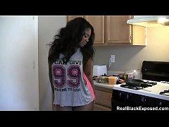 Thick Ebony Strips As She Cooks