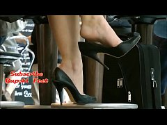 Candid British Milf Shoeplay at Restaurant Part...