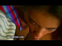 Hot brunette Solange in vintage anal quickie