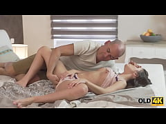 OLD4K. Handsome old man joins aroused babe just...