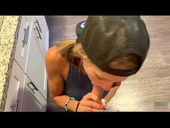 Sloppy blowjob in the kitchen