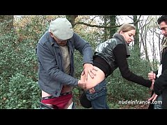Amateur french blonde anal pounded in threesome with Papy Voyeur
