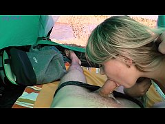 Risky Camping Blowjob Ends With Cum In Mouth - Letty Black