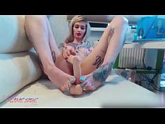 Tattoed Girl Foot Fetish and Masturbate Anal Bi...