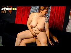 AMATEUR EURO - Hot German BBW Cathrin Shoot Her First Time Porn Movie