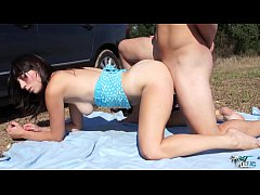 Two horny strangers caught young innocent teen ...