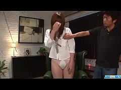 Mami Yuuki throats cock and swallows in the end...