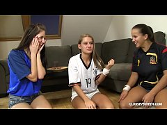 Lucky guy fucks his 3 World Cup cheering teen n...