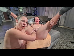 Chubby slut training to stretch her fat pussy  ...